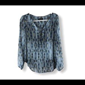 Jessica Simpson Sheer Long Sleeve Boho Blouse Top